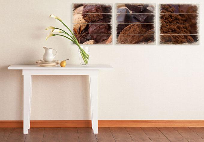 Houten Wanddecoratie Chocoladedroom 02 3-delige set - wall-art.nl