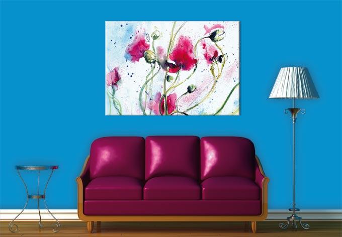 stampa su tela campo di papaveri acquerello wall. Black Bedroom Furniture Sets. Home Design Ideas