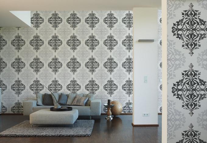 livingwalls tapete flock 4 reinwei graubeige braungrau wall. Black Bedroom Furniture Sets. Home Design Ideas