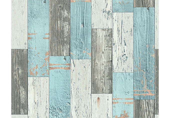 A s cr ation holzoptik tapete faro 4 962461 blau creme for Tapete orientalisch blau