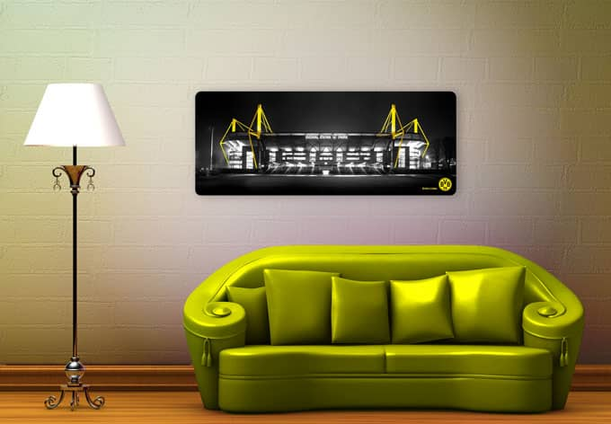 modernes glasbild von borussia dortmund bvb wall. Black Bedroom Furniture Sets. Home Design Ideas