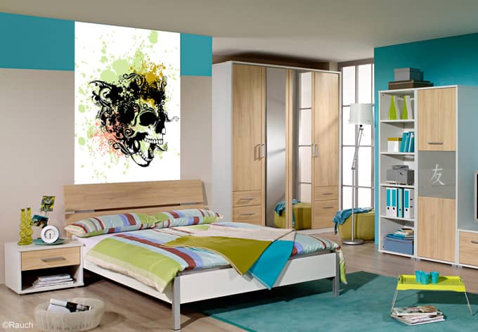 wandbild totenkopf tribal deko f r jugendzimmer wall. Black Bedroom Furniture Sets. Home Design Ideas