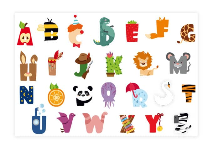 sticker mural alphabet pour enfants wall. Black Bedroom Furniture Sets. Home Design Ideas