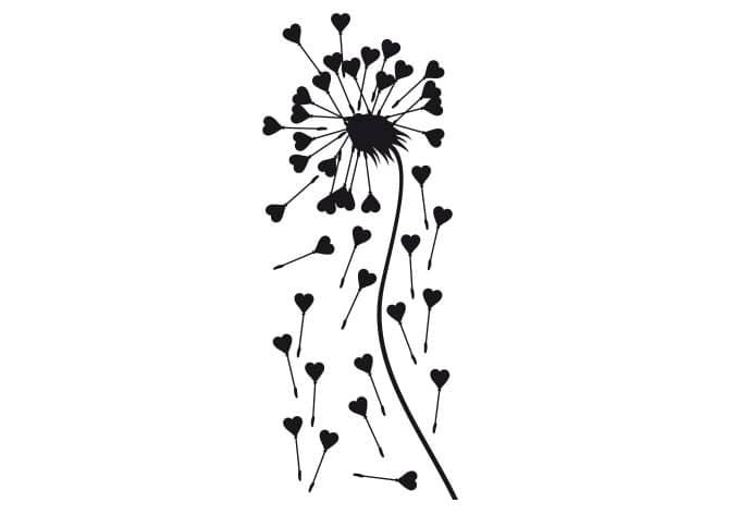 dandelion hearts wall sticker wall. Black Bedroom Furniture Sets. Home Design Ideas