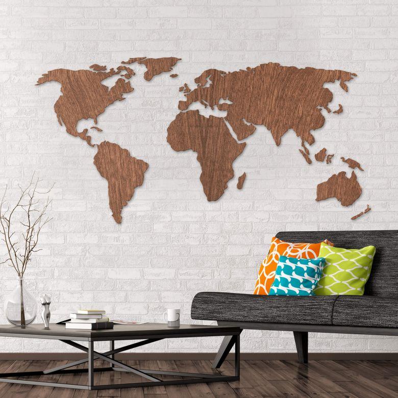 Tolle Weltkarte Aus Mahagoni Holz Als Moderne Wanddekoration