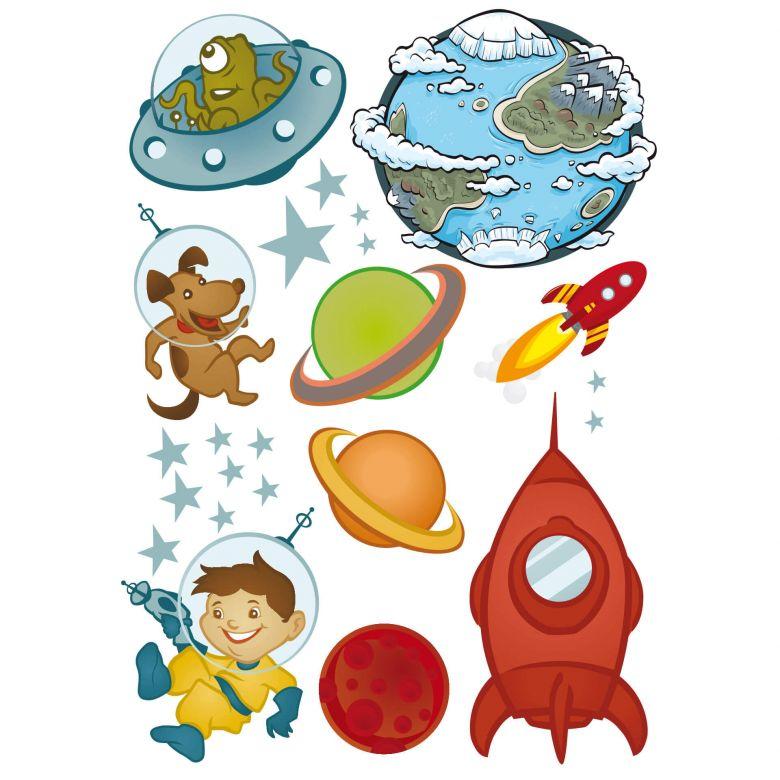 Wandtattoo Weltraum 23 Aufkleber Mit Astronauten Und Rakete Wall Art De