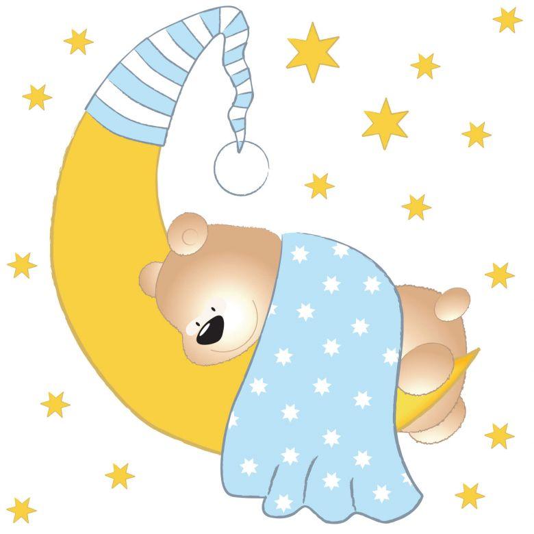 Wandtattoo Barchen Mond Und Sterne Blau Wall Art De