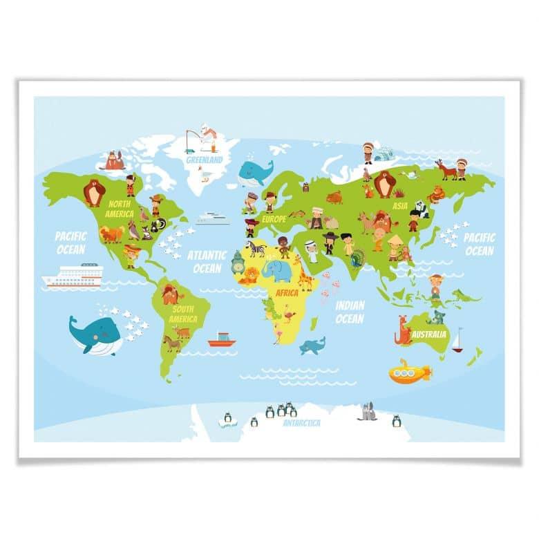 Poster Lustige Weltkarte Wall Art De
