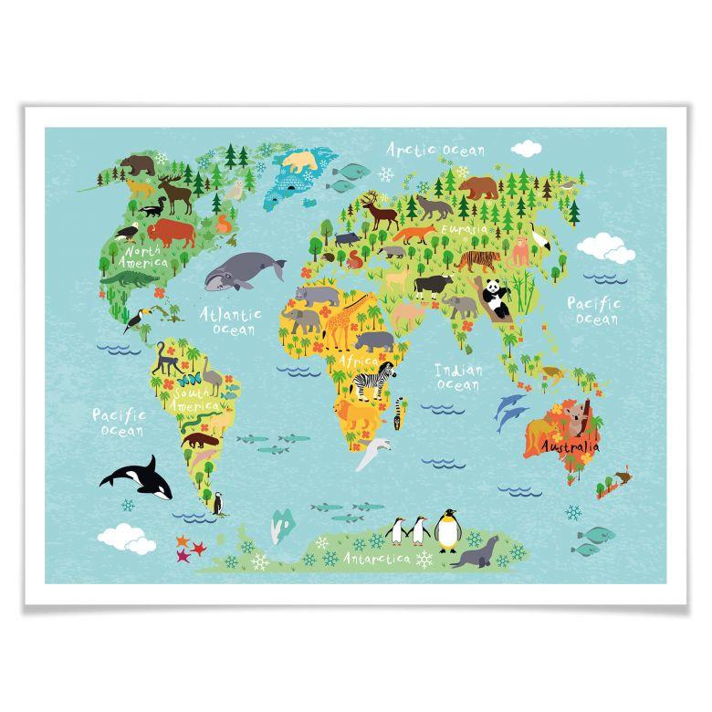 Poster Tierische Weltkarte Wall Art De