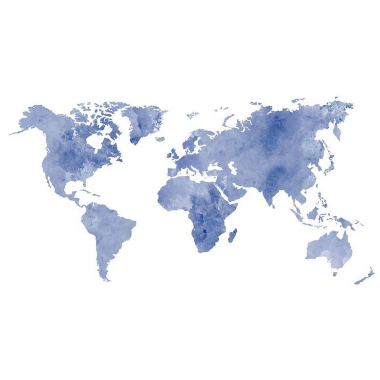Wandtattoo Aquarell Weltkarte Blau Wall Art De