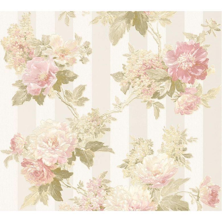 A.S. Création Vliestapete Romantico Tapete romantisch floral creme, grün,  rosa