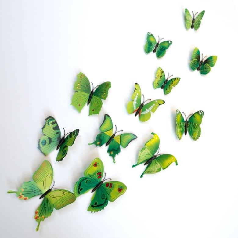 3D Wandtattoo Schmetterling Set 12-tlg - Grün