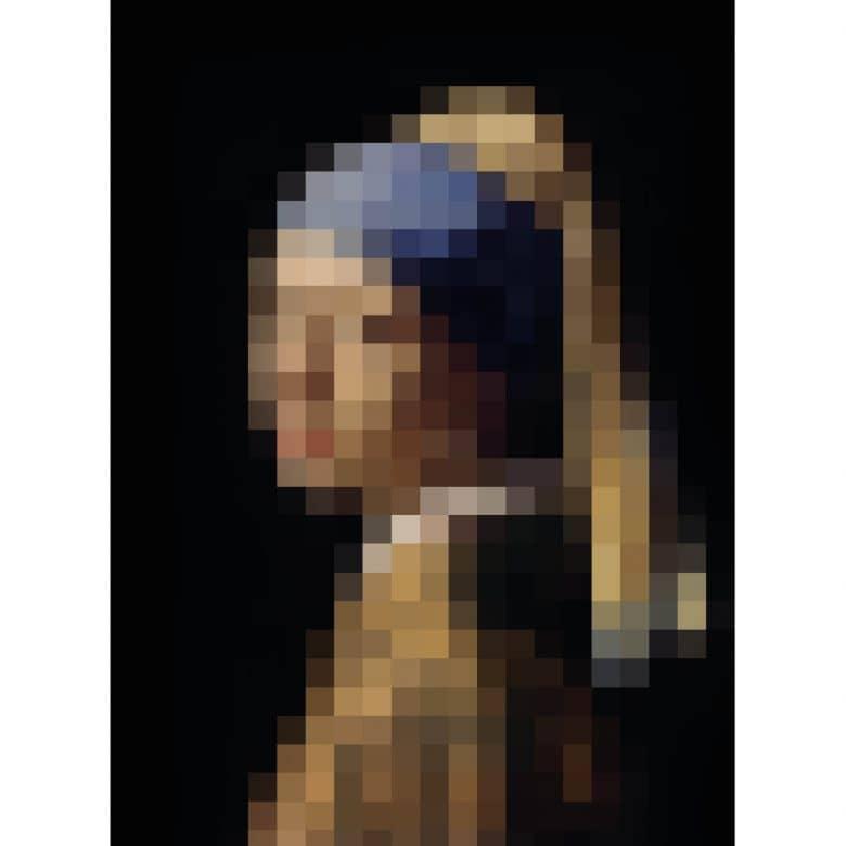 Das Mädchen mit dem Perlenohrring Acrylglasbild Pixelart Vermeer