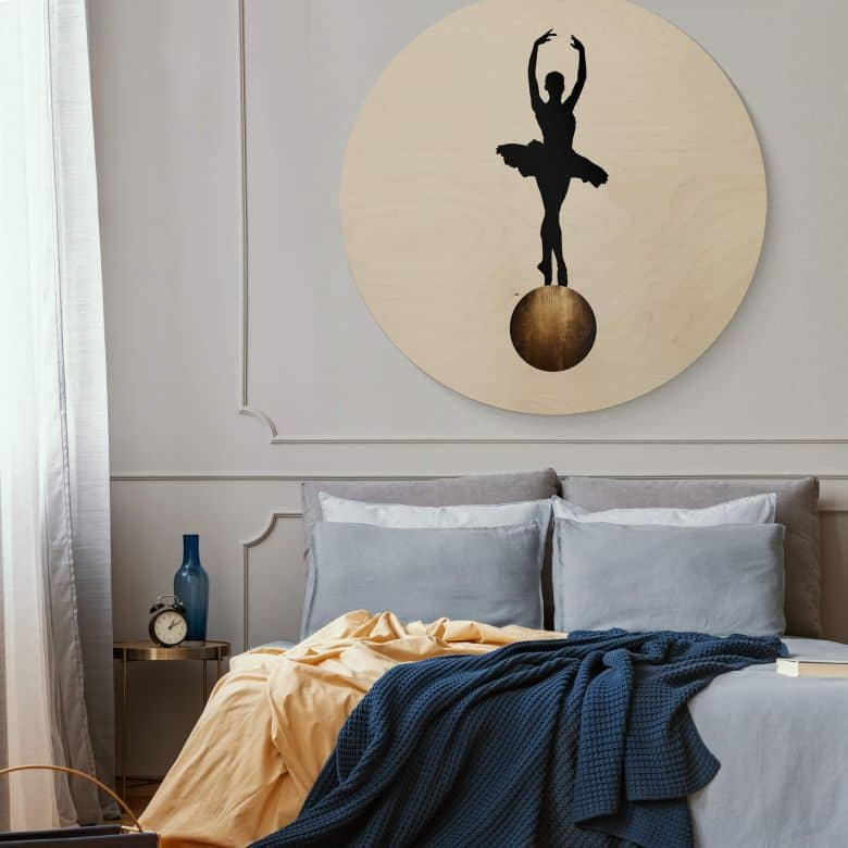 Stampa Su Legno Kubistika Prima Ballerina Tondo Wall Art It