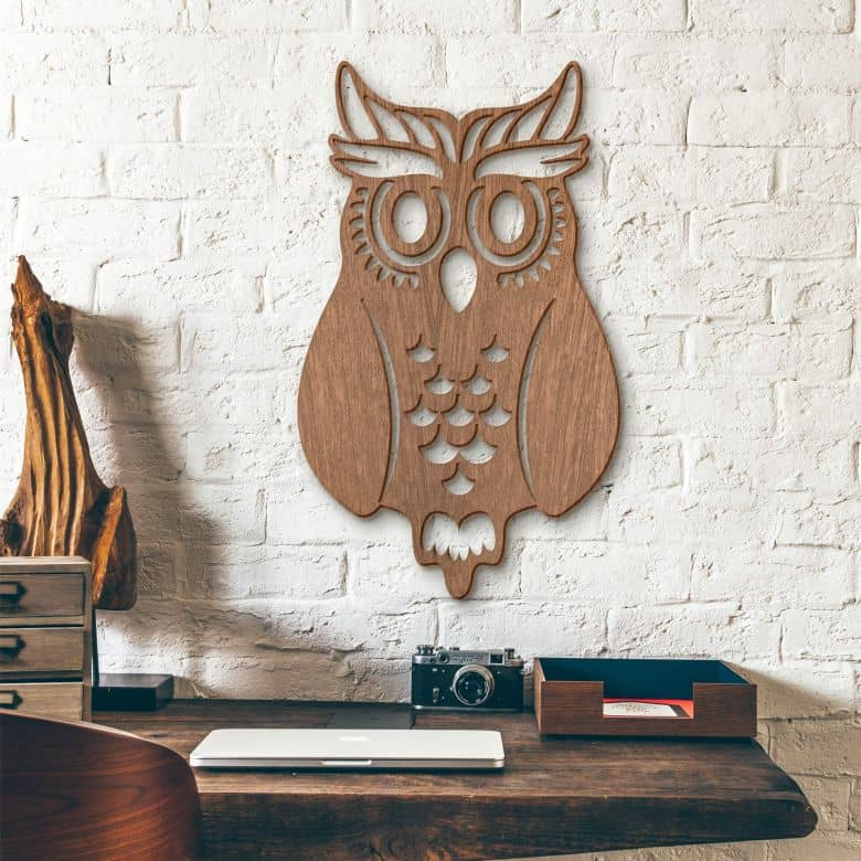 Wooden Décor Owl Wall Art Com