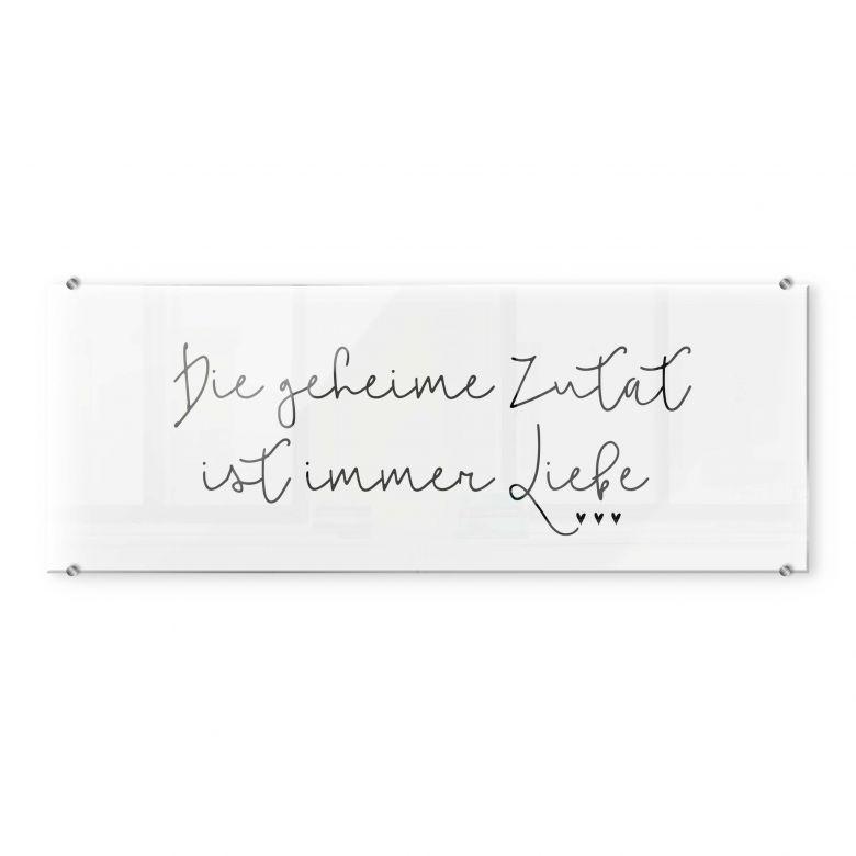 Spritzschutz Transparent Die Geheime Zutat Ist Immer Liebe Panorama Wall Art De