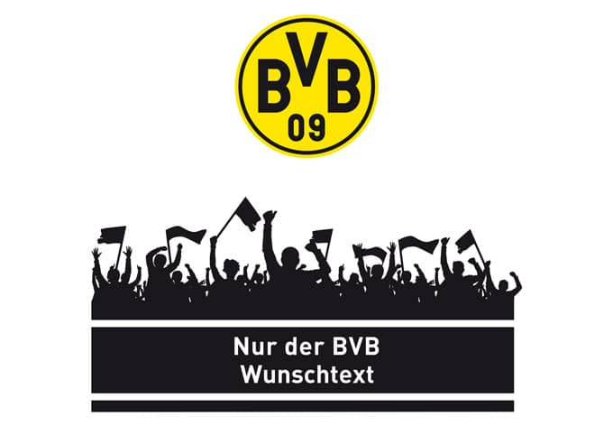 Wandtattoo Nur Der Bvb Wunschtext Mit Logo Farbig
