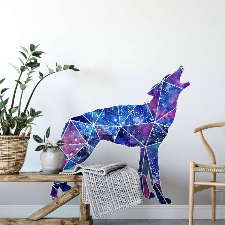 Wandtattoo Polygon Galaxie Wolf Wall Art De