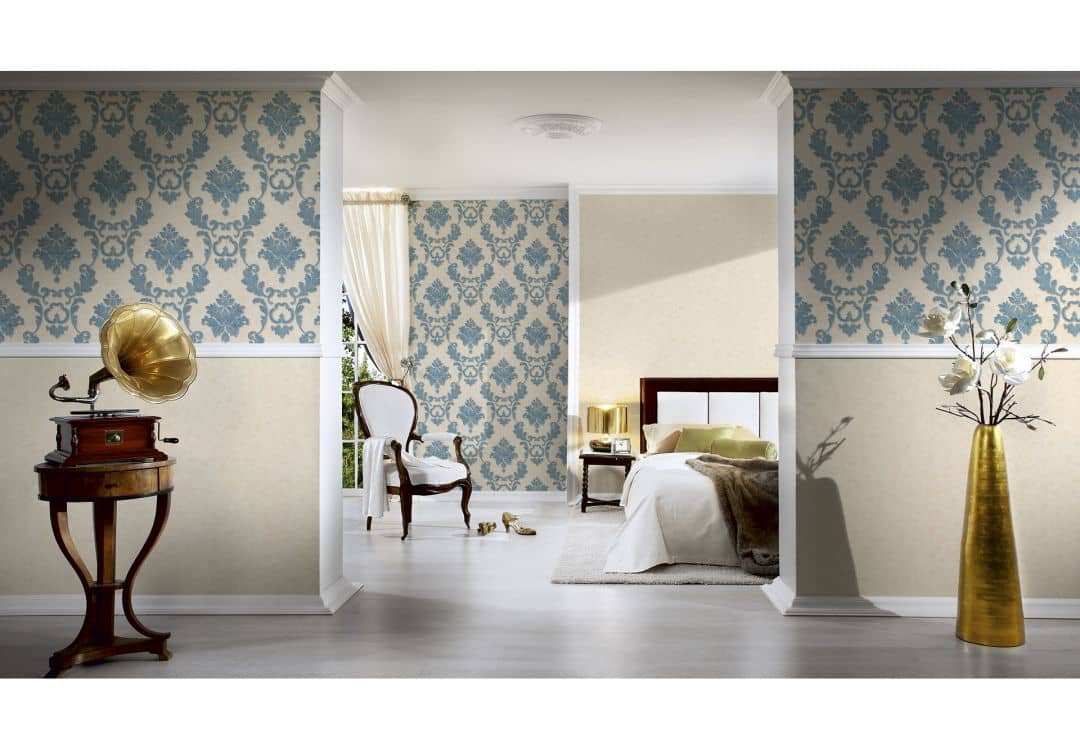 architects paper tapete luxury wallpaper 324222 blau creme metallic wall. Black Bedroom Furniture Sets. Home Design Ideas