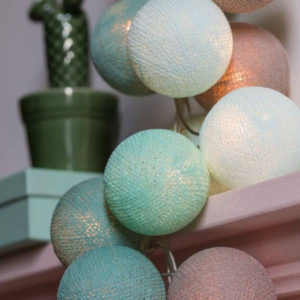 cotton ball lights led lichterkette mint 20 tlg wall. Black Bedroom Furniture Sets. Home Design Ideas