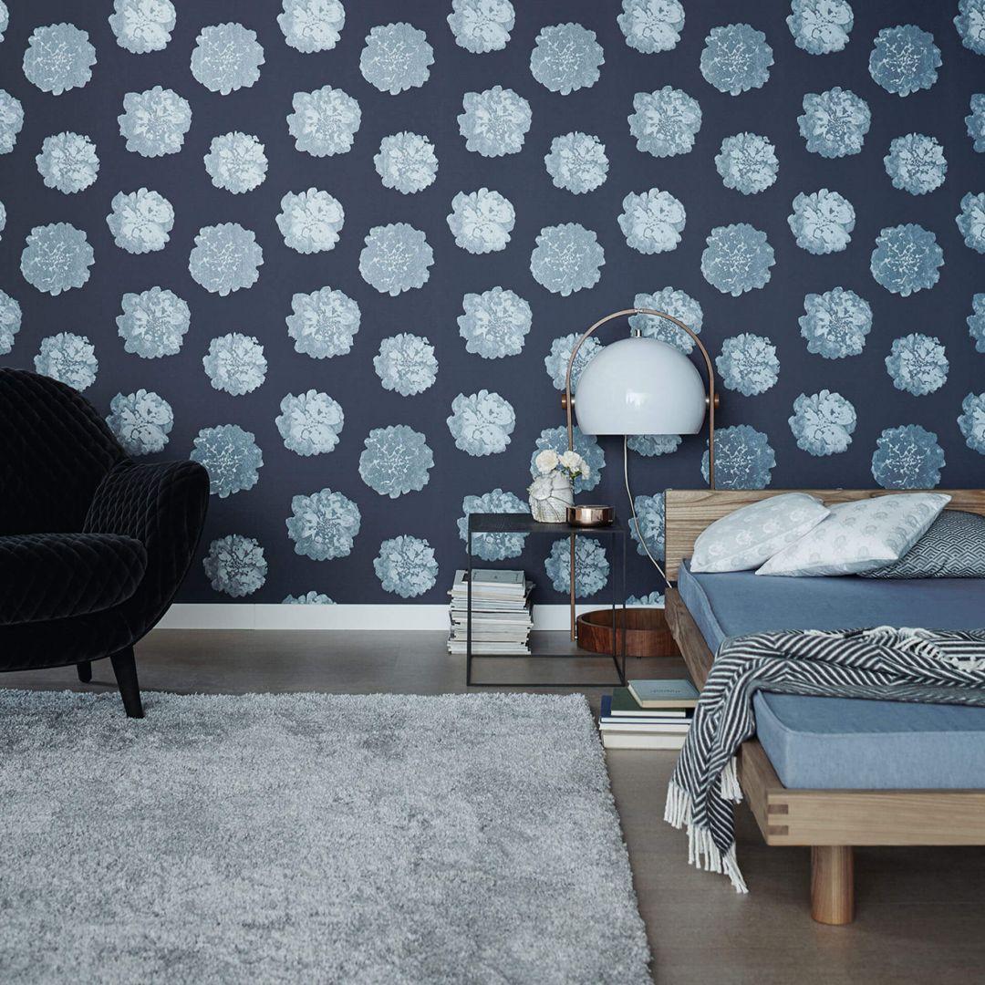 sch ner wohnen vliestapete blau metallic 324545 wall. Black Bedroom Furniture Sets. Home Design Ideas
