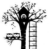 Wandtattoo Messlatte Eulen im Baum