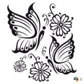 Muursticker Tak met Bloemen 8 (2-kleurig)