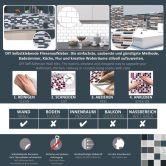 3D Fliesenaufkleber Mosaik Bordüre Grau - 10er Set je 25,3 x 3,7 cm