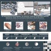 3D Fliesenaufkleber Mosaik Marmoroptik Hellgrau - 4er Set je 27 x 25,4 cm