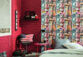 A.S. Création paper behang Authentic Walls meerkleurig rood