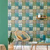 A.S. Création Vliestapete Authentic Walls 2 Tapete in mediterraner Fliesen Optik blau, gelb, grün
