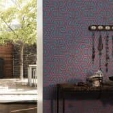 A.S. Création Vliestapete Linen Style Tapete geometrisch grafisch blau, schwarz, lila