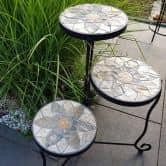 Blumentreppe Mosaik Metall Blumenhocker Metalldeko Gartendeko Mosaiktisch Blumenregal