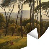 Fototapete Voogd - Italienische Landschaft mit Schirmkiefern - Rund