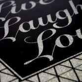 Wandbild Live-Laugh-Love - Silber Glitzer