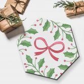 Hexagon - Alu-Dibond Weihnachtsschleife