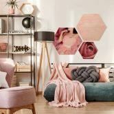 Hexagon - Holz Birke-Furnier - Die rosa Rose