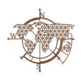 Holzkunst Mahagoni Furnier - Weltkarte Himmelsrichtungen