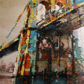 Öl-Wandbild Brücke 90cm x 90cm