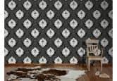 Patroonbehang Livingwalls Flock 4 Zwart, Signaalwit, Grafietgrijs