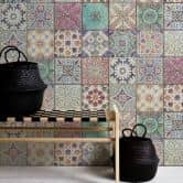 Livingwalls wallpaper tile effect pink, blue