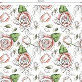 Mustertapete - illustrierte Rosen