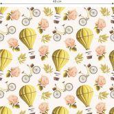 Mustertapete - Vintage Heißluftballon - gelb