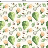 Mustertapete - Vintage Heißluftballon - grün
