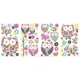 Wall sticker set owls and butterflies