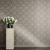 Versace wallpaper Tapete Barocco Flowers braun, grau, metallic