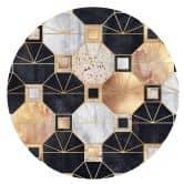 Wandtattoo Fredriksson - Art Deco: Gold und Schwarz - rund