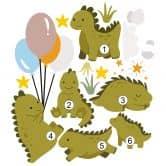 Wandtattoo Fröhliche Dinobande