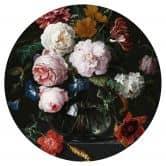 Wandtattoo Heem - Stillleben mit Blumen in einer Glasvase - rund