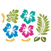 Wandtattoo Hibiskusblüten - türkis-magenta-hellblau